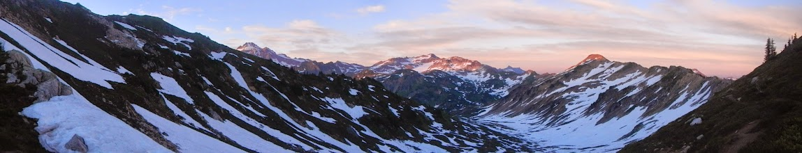 Photo: The sun sets over the basin beneath Red Pass