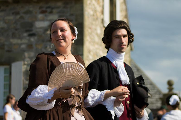 Actors in period garb at the Fortress of Louisbourg, founded by the French in 1713 and one of North America's busiest 18th-century seaports.
