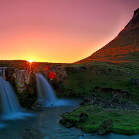 The Lonely Mountain... by Avishek Patra - Landscapes Sunsets & Sunrises ( water, canon, midnightsun, kirkjufell, mountain, europe, hdr, flowing, colorful, cliff, twilight, waterfall, lonely mountain, travel, landscape, ridge, island, contrast, iceland, midnight, akpphotography, photographer, kirkjufellfoss, long exposure,  )