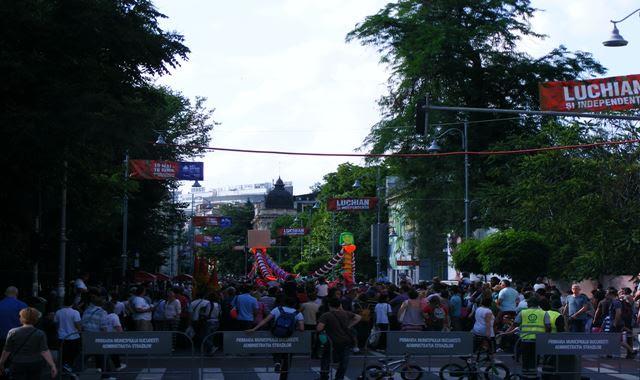 Pedestrians on Victoria Avenue Bucharest, Romania