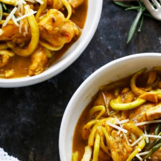 Brown Butter Pumpkin Sauce over Zucchini Linguine & Grilled Chicken.