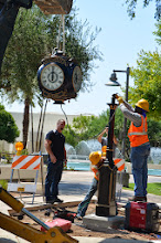 Photo: Getting ready to position the clock face on to the pedestal for the Scottsdale Rotary Clock