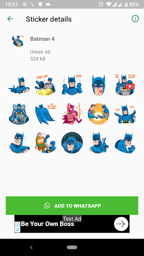 Trendy Batman Stickers (WAStickerApps) screenshot 4