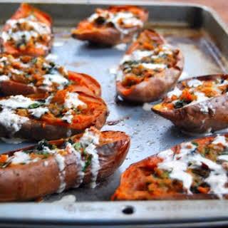 Vegan Sweet Potato Skins with Kale.