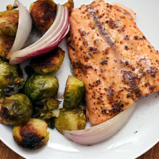 Maple and Mustard-Glazed Salmon with Roasted Brussels Sprouts.