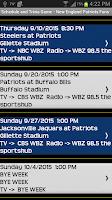 Screenshot of Schedule New England Patriots