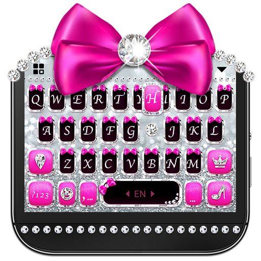 Glitter Silver Bow Theme - Cool Diamond keyboard
