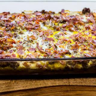 Three-Meat and Sweet Potato Breakfast Casserole.