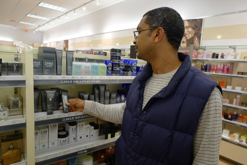 Photo: My hubby Philip was also checking out the skin care products. The Clinique skin supplies for men caught his eye. He was thinking of purchasing a skin care line for himself too!