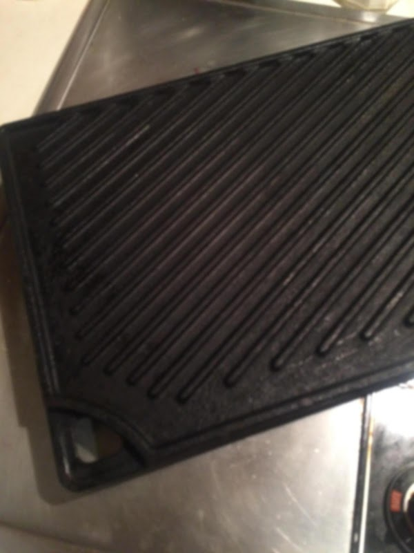 Use a stove-top cast iron grill pan (pictured). Do not use a thick grill...