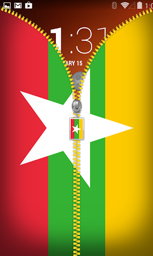 Myanmar Flag Zipper Lockscreen
