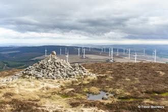 Photo: Turbines at Mid Hill Wind Farm from Summit Cairn of Kerloch