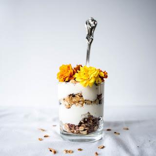 Granola Parfaits with Home-made Chamomile Yogurt and Edible Flowers