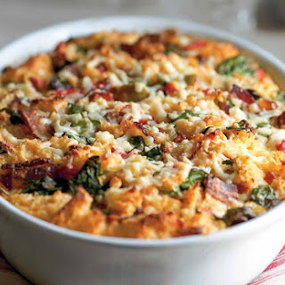Savory Bread Pudding With Bacon Recipe.