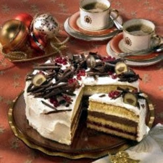 Preiselbeer-Mozart-Torte mit Kakaorand