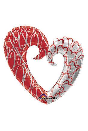 Folieballong, hjärta XO