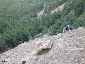 Photo: Corey Kline high on the First Flatironette, enroute to the Spy