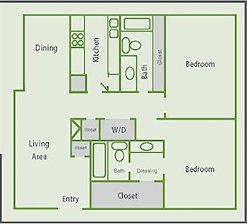Go to Two Bed, Two Bath B2 Floorplan page.
