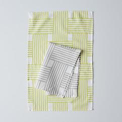Lattice Stripe Tea Towel