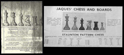 Photo: The two full adverts previously referred to (Lyons & Jaques).  Note that Lyons refers to himself as 'Importer and dealer' and specifically refers to these sets as '..these men are my own importation...'.  The Jaques advert refers to this 'lesser' range of chessmen as '...they are of inferior workmanship and materials..' - hence my use of the term 'Inferior Staunton Pattern', or ISP. Jaques used the same wording in connection with lesser ranges for a considerable period of time, although later images showed a slightly different, and less distinctive, form of chessmen.  The Lyons advert photo was sourced from Winters Chess Notes 5383, and was initially (date unknown) supplied there by Frank Camaratta in connection with an inquiry on Bird's chessmen (although I do not think they relate to either of the Bird's Chess sets known to me). I understand that this advert dates to 1910, although the period over which he sold these sets is currently unclear to me.