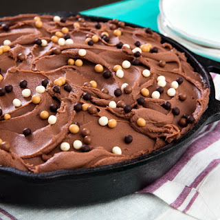 Chocolate Skillet Cake With Milk Chocolate Frosting.
