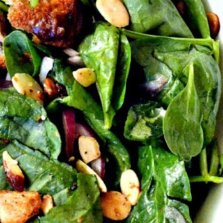 Spinach Salad with Za'atar, Dates, Almonds and Fried Bread