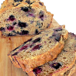 Clean Eating Whole Wheat Banana Bread with Blueberries