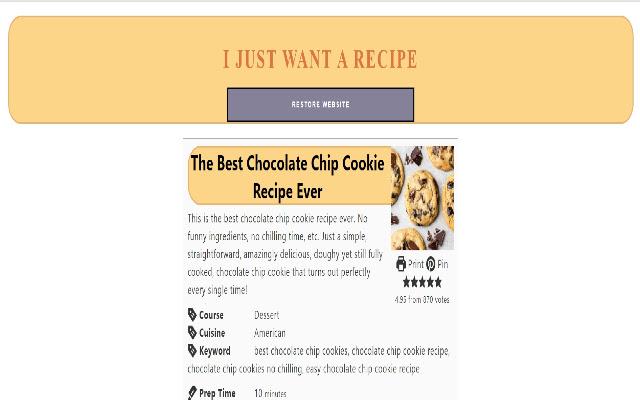 I Just Want A Recipe