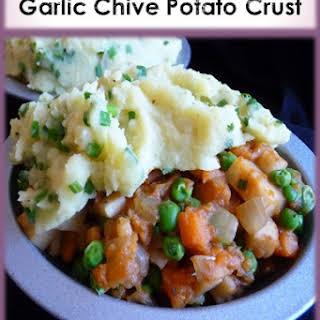 Shepherd-Free Vegan Shepherds Pie with Garlic Chive Potato Crust.