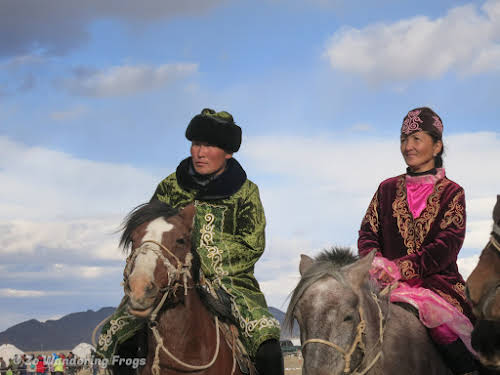 Mongolia. Golden Eagle Festival Olgii. Contestants in the Best Costumes Event