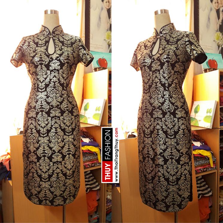 Váy sườn xám họa tiết ánh kim V381 thời trang thủy