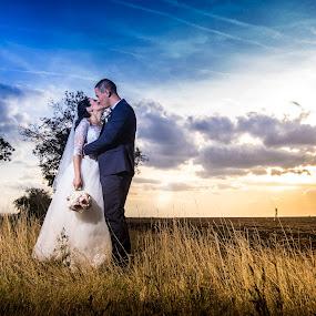 Kiss of love! by Doru Iachim - Wedding Bride & Groom ( love, kiss, grass, sunset, wedding, sunrise )