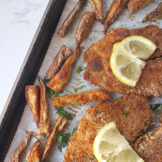 Sheet Pan Beer-Battered Baked Fish and Chips.