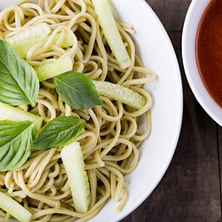 Green Tea Noodles with Gochujang Dipping Sauce