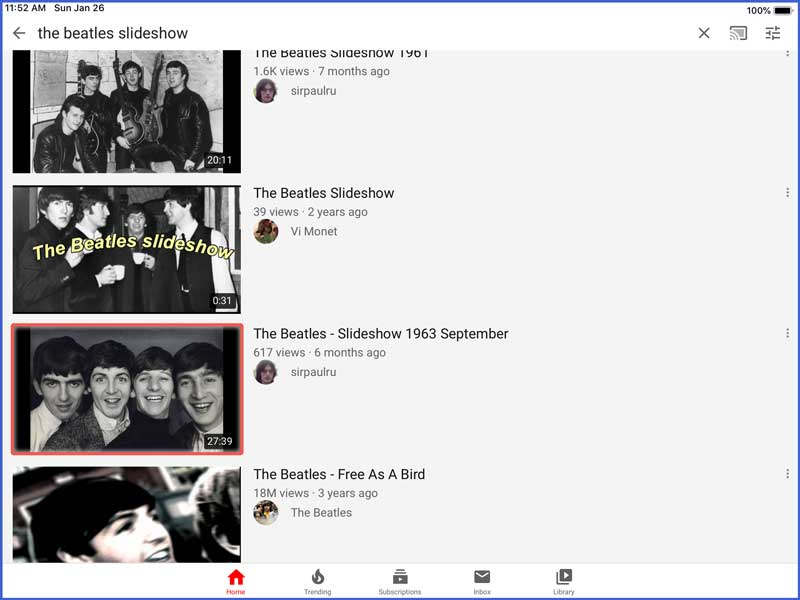 youtube app music slideshows for dementia