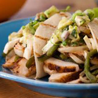 Spice-Rubbed Chicken Breast Tacos with Grilled Poblanos, BBQ Onions and Coleslaw.
