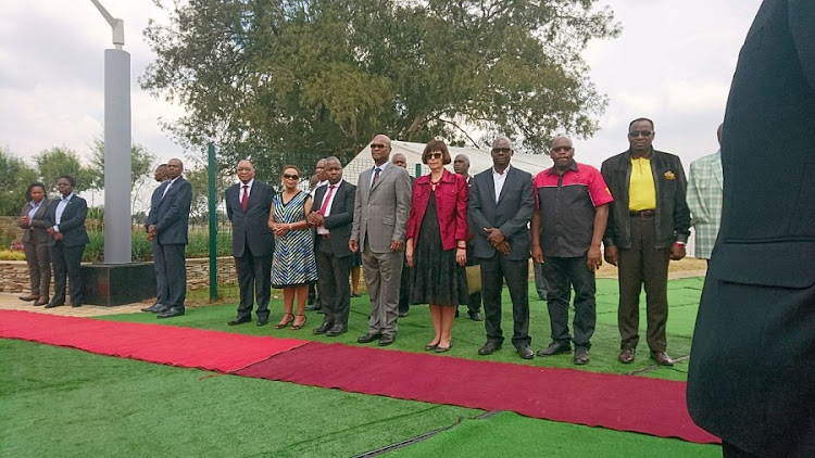 President Jacob Zuma stands next to Limpho Hani, widow of Chris Hani. Picture: BOIKHUTSO NTSOKO/TMG DIGITAL