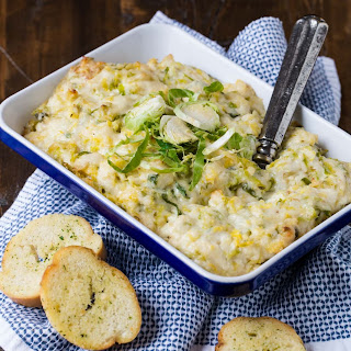 Hot Cheesy Brussels Sprouts Dip.