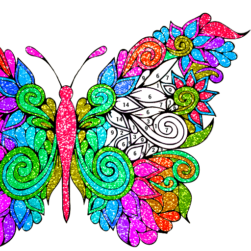 Butterfly Glitter Color by Number : Coloring Book Icon