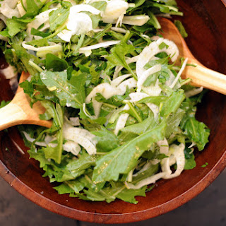 Dandelion Greens with Shaved Fennel, Celery and Parsley