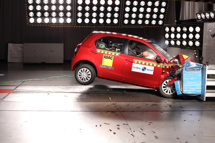 The Toyota Etios during the crash test.