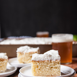 Lemon Beer Party Cake with Rum Lime Whipped Cream