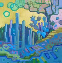 "Photo: ""Cool Garden Tango"", acrylic on canvas 12"" x 12"", © Nancy Roberts"