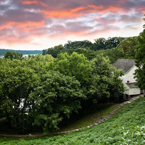 Sunset at Mill Springs Mill by Angela Moore - Landscapes Sunsets & Sunrises ( mill, park, sunset, path, walkway, landscape )