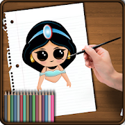 learn how to draw and coloring Cute cartoons icon
