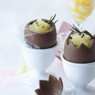 Orange and Rosemary Sorbet in Hollow Chocolate Easter Eggs
