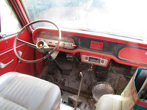 Photo: Cab interior has been extensively modified with red interior paint, black dash paint, a pair of reclining bucket seats. Originally a Powerglide automatic it will be converted to a 4 speed transaxle
