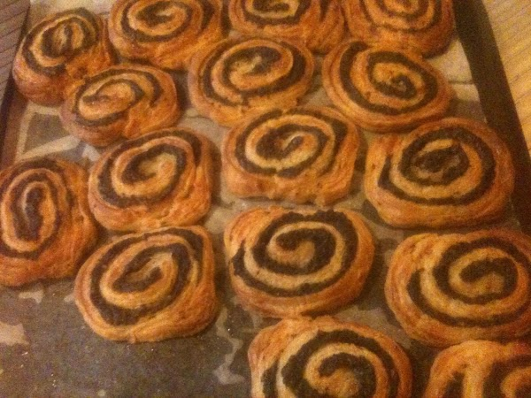 Bake until the swirls are golden brown. Remove from the baking sheet to a...