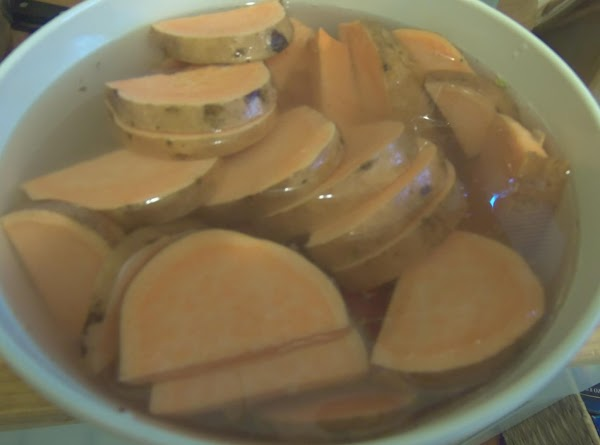 For the sweet potato chip fries. Place the cut potatoes in water. drain and...