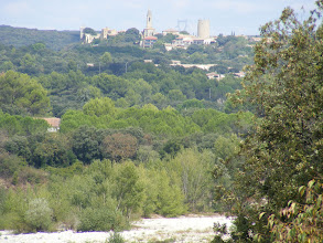 Photo: Here, at high zoom, is what we think is the nearest town, Vers-Pont-du-Gard.